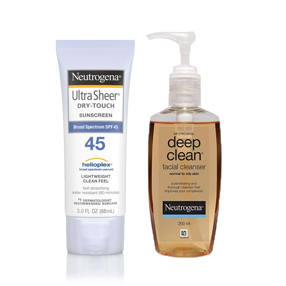 Neutrogena Ultra Sheer® Dry-Touch Sunscreen Broad Spectrum SPF 45 +  Deep Clean Facial Cleanser Combo