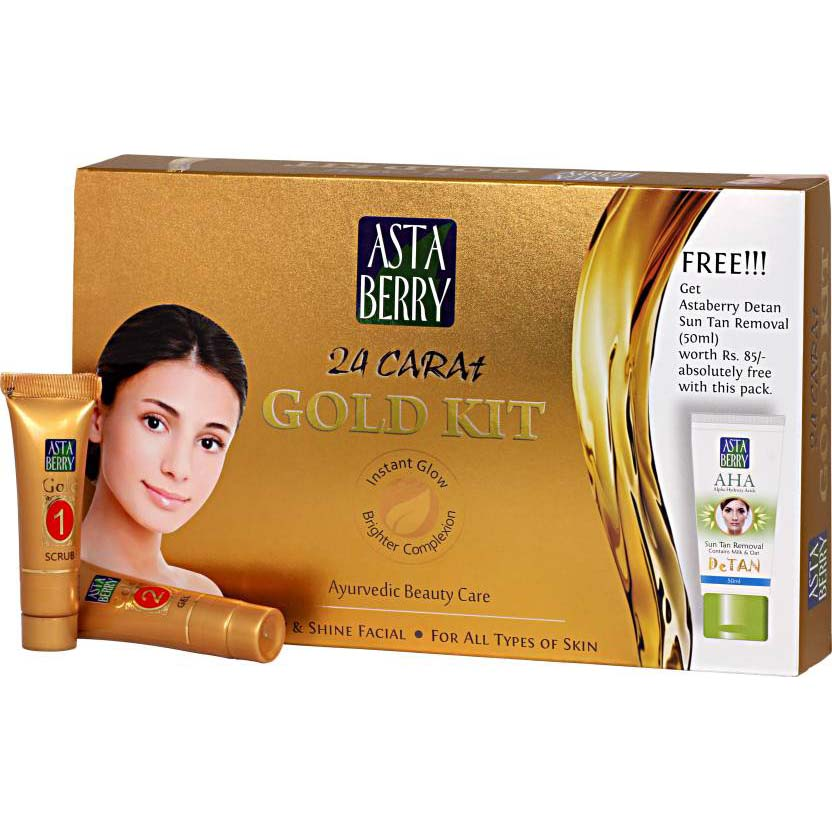 Astaberry 24 Carat Gold Facial Mini Kit for All Skin Types