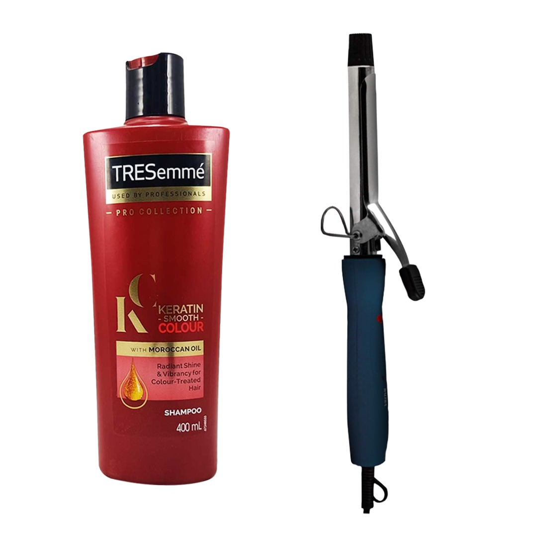 Baltra Joya Hair Curler (BLACK) & Tresemme Keratin Smooth Colour Shampoo 400ml Combo