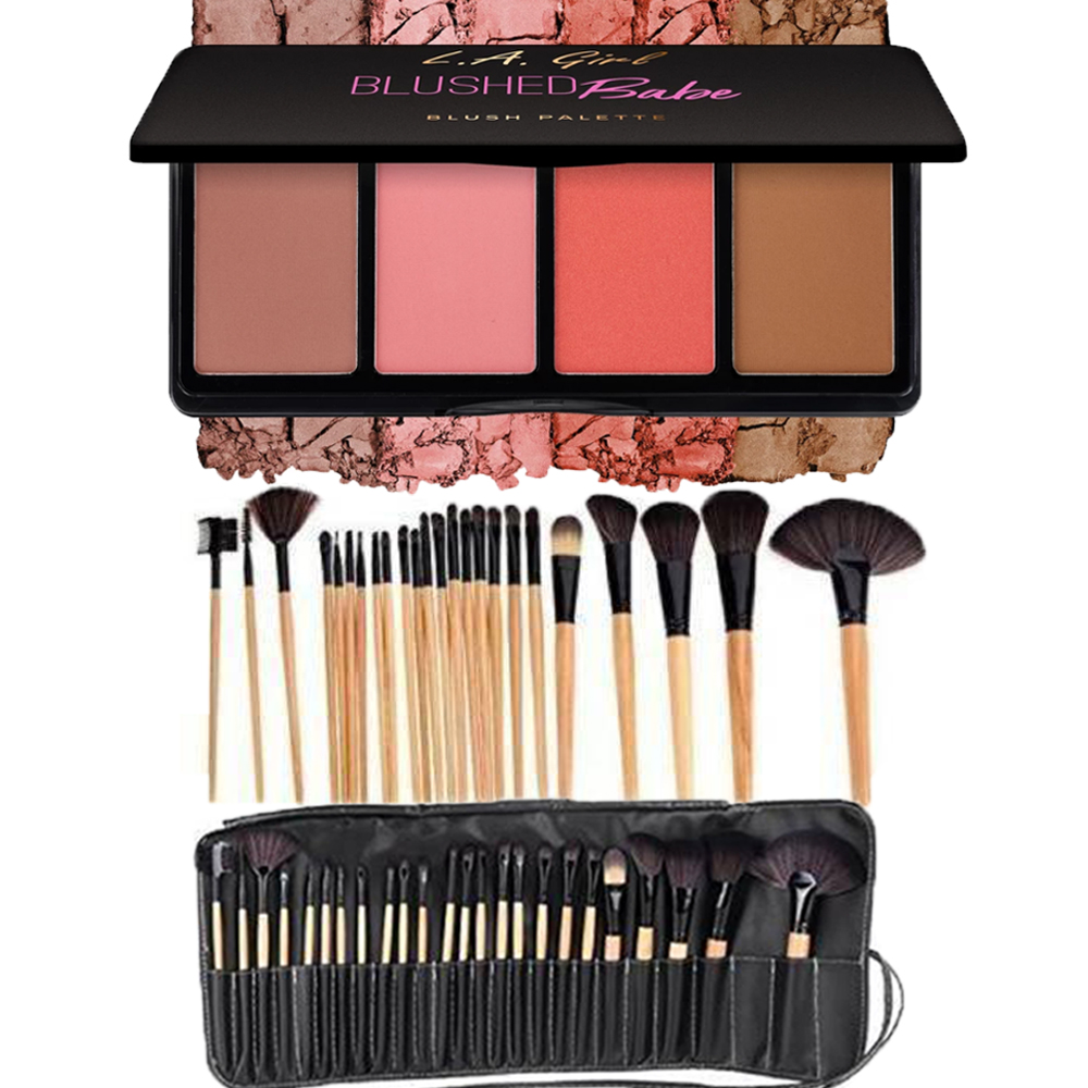 Buy L.A. Girl Fanatic Blush Palette - Blushed Babe & Get 24 Pieces Brush Set Absolutely Free