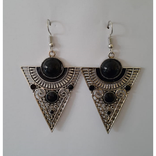 Silver Triangle Shape Earring With Black Stone