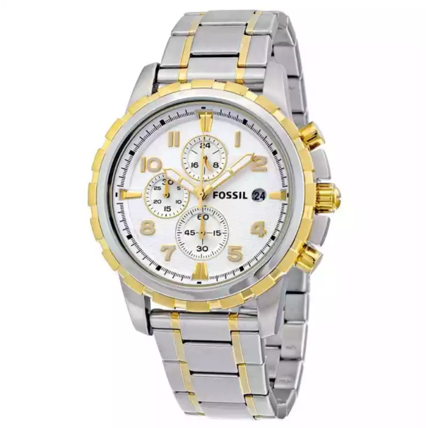 Fossil Watch Dean Chronograph Silver Dial Two-tone Watch For Men- FS4795