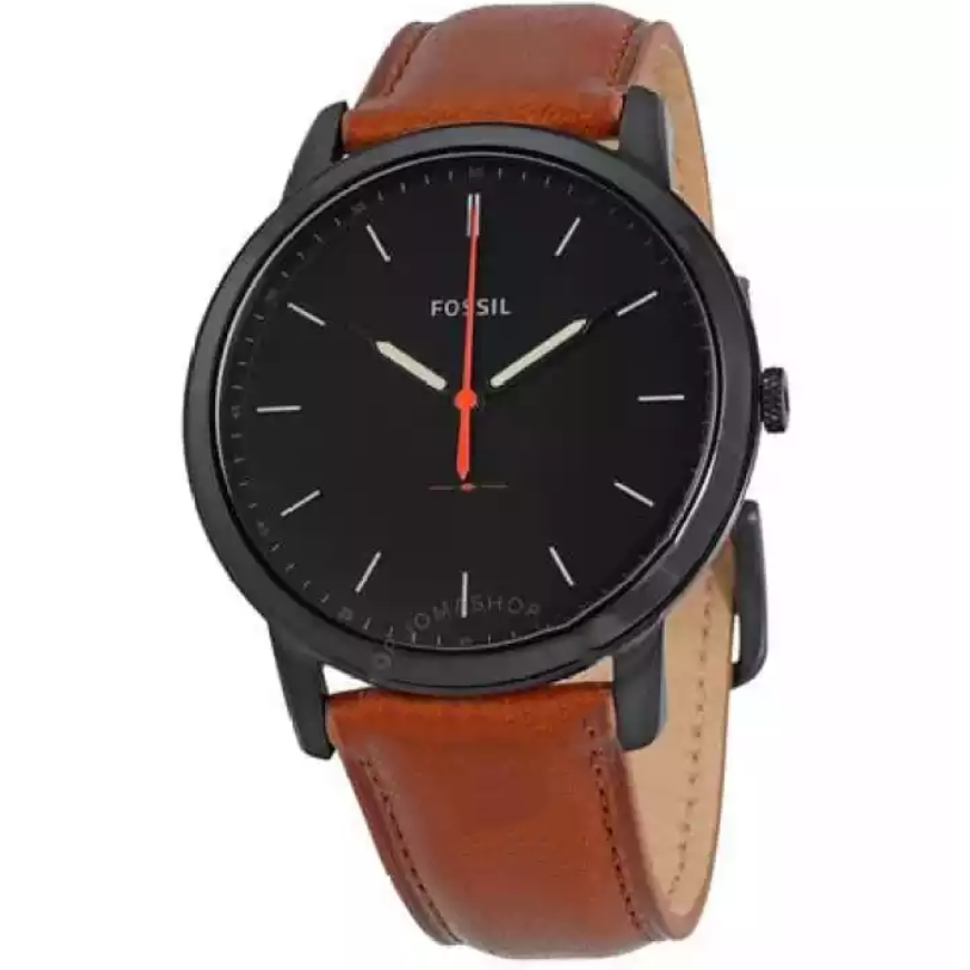 Fossil Watch Minimalist Black Dial Brown Leather Watch For Men- FS5305