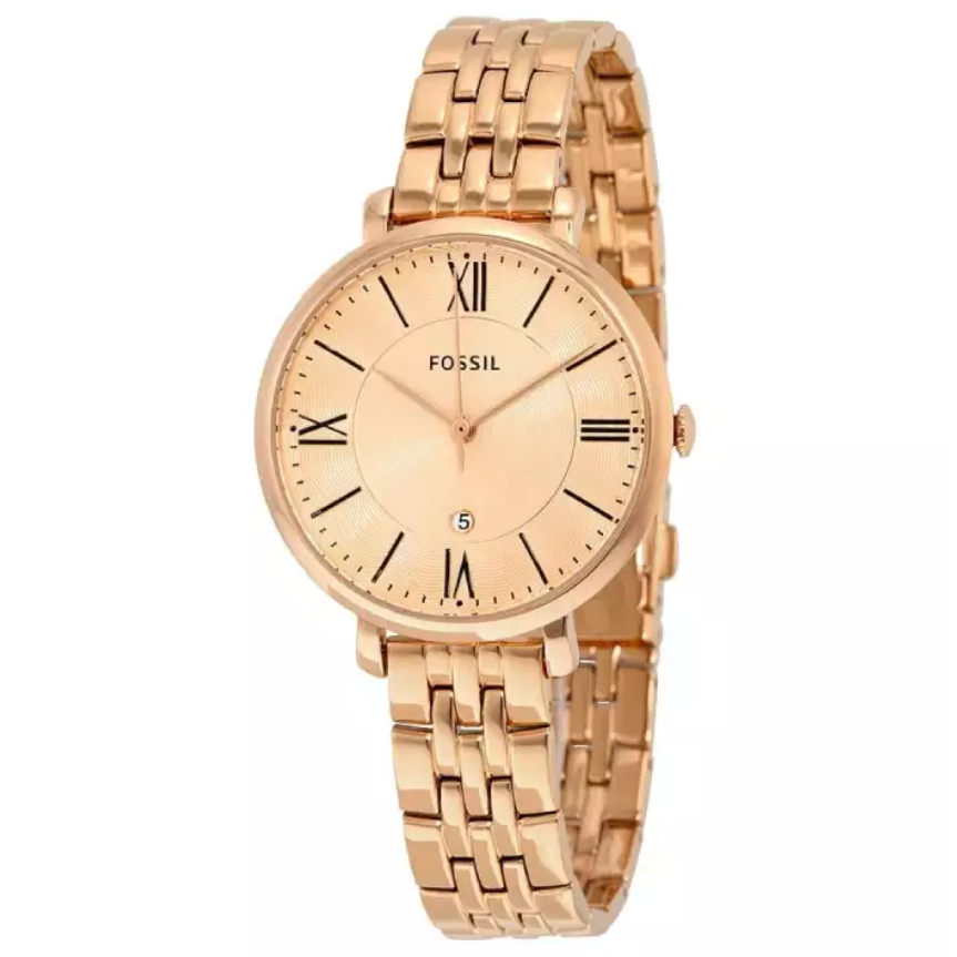 Fossil Watch Jacqueline Rose Gold-Tone Stainless Steel Watch For Women- ES3435