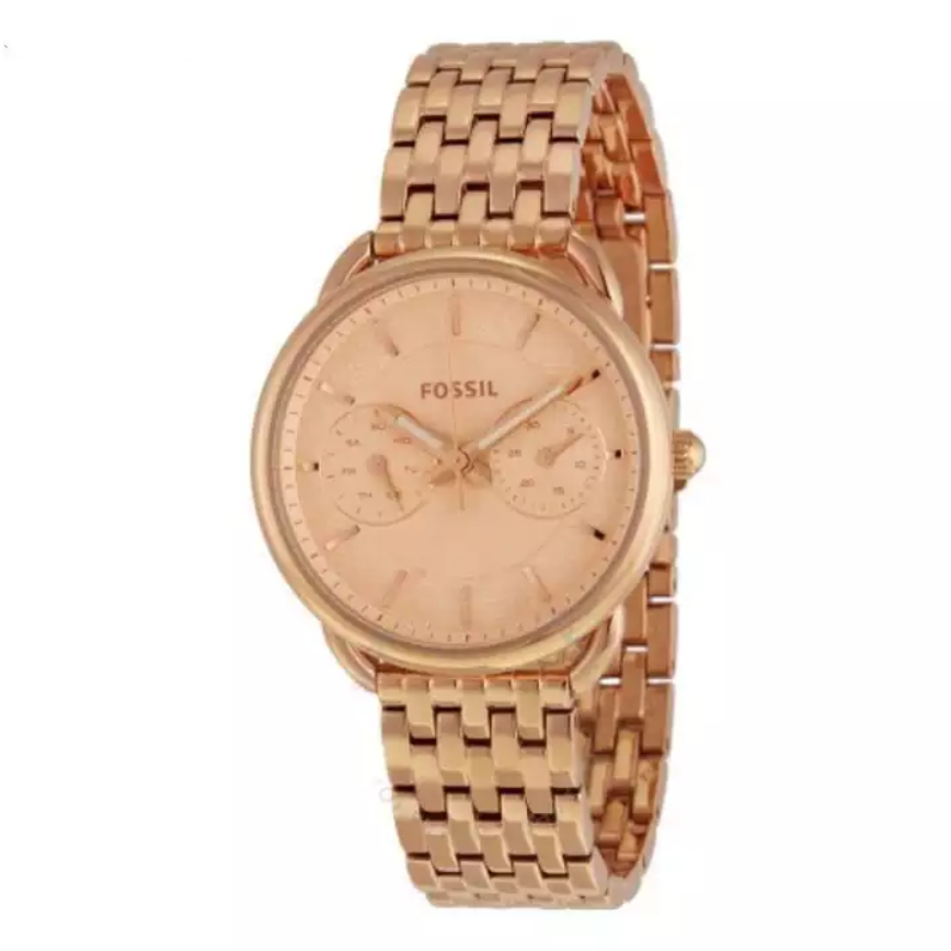 Fossil Tailor  Multifunction Rose Dial Rose Gold-tone Steel Watch For Women - ES3713