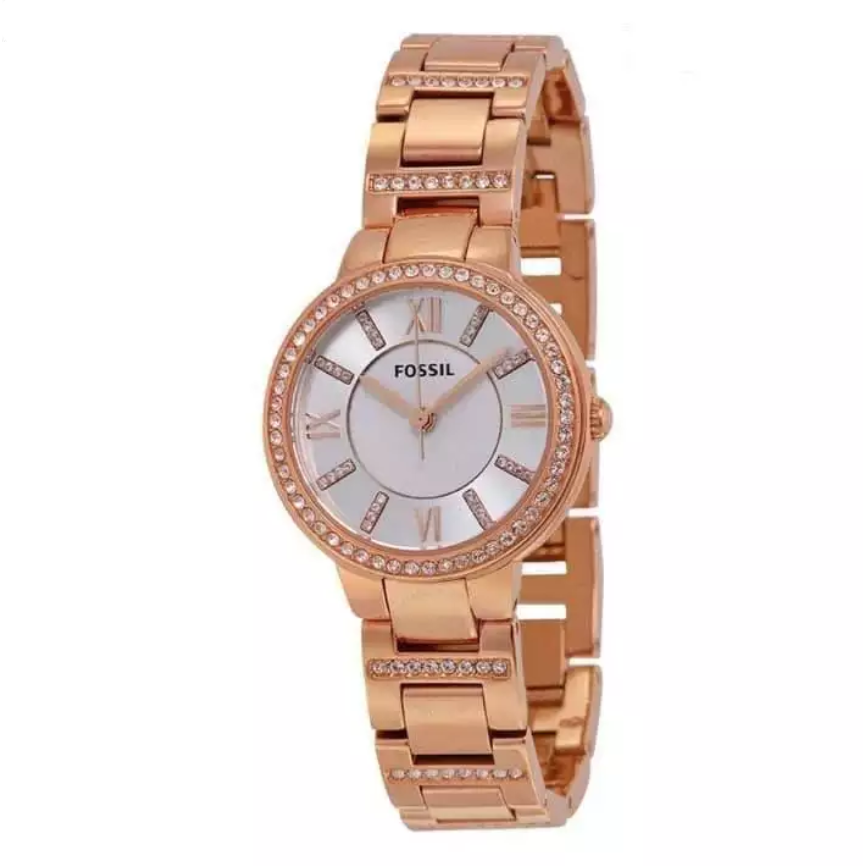 Fossil Virginia Silver Dial Rose Gold-Tone Watch For Women- ES3284
