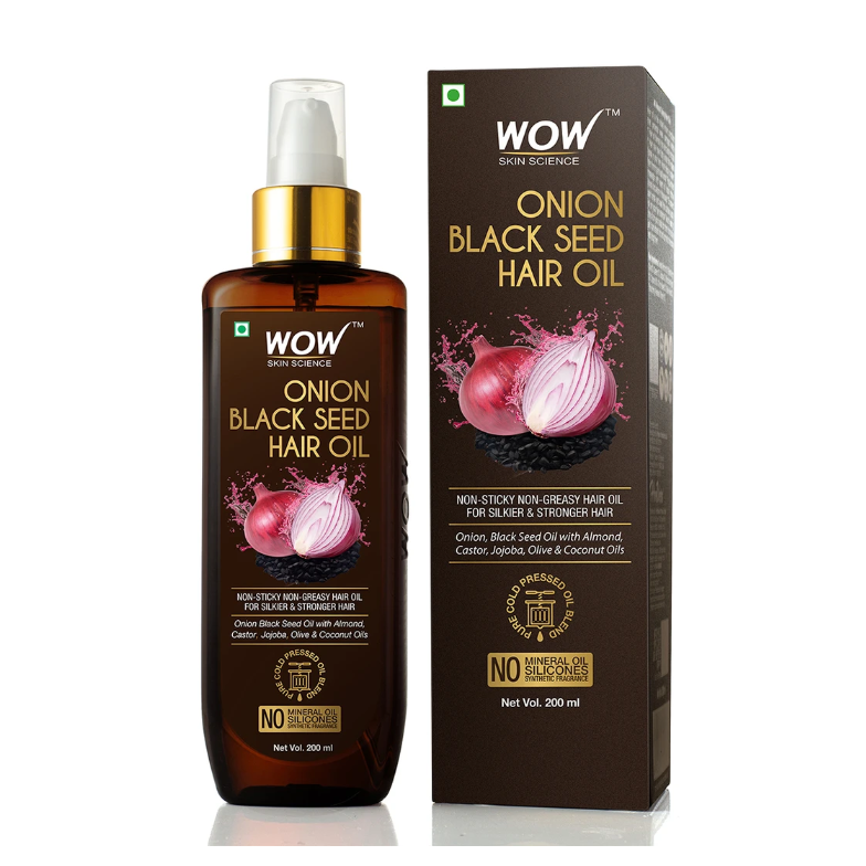 WOW Skin Science Onion Black Seed Hair Oil - Controls Hair Fall - No Mineral Oil, Silicones & Synthetic Fragrance - 200mL