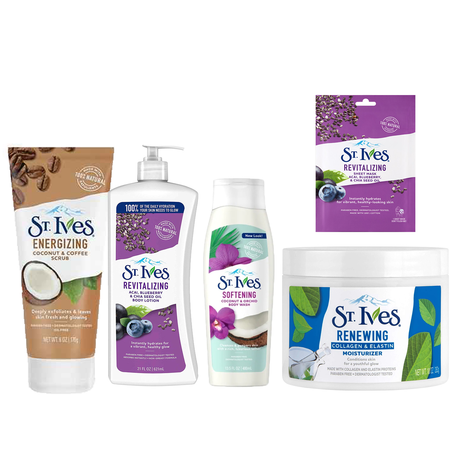 St. Ives Body Wash,Moisturiser,Body Lotion, sheet Masks & Scrub Combo