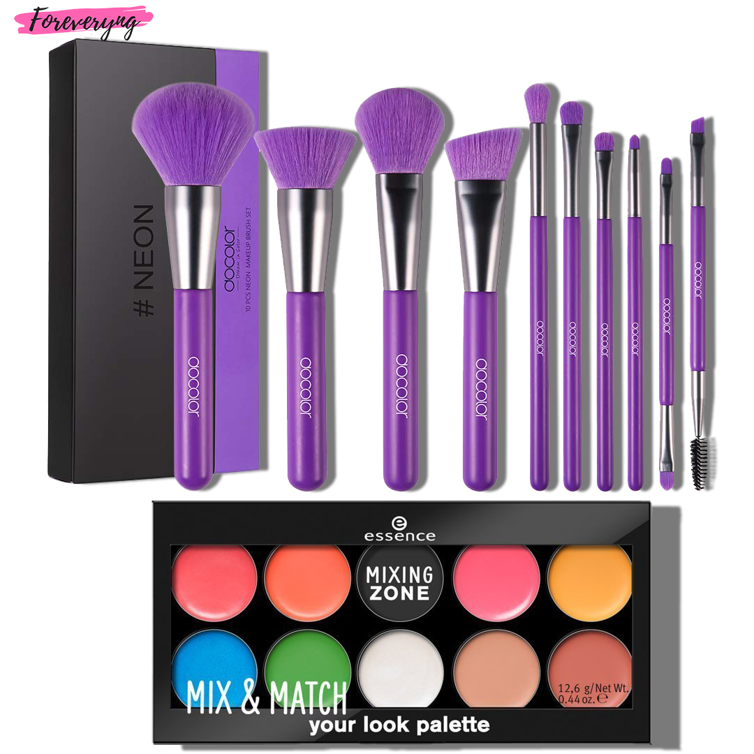 Buy Docolor 10 Piece Neon Makeup Brush Set and Get Essence Mix & Match Your Look Palette For Free