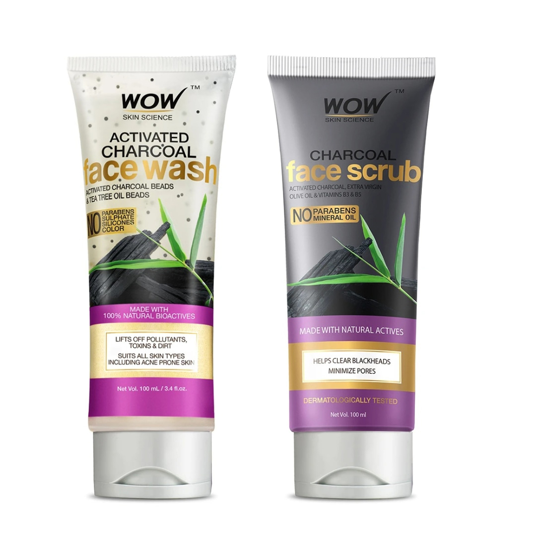 Wow Activated Charcoal Face Wash & Scrub Combo