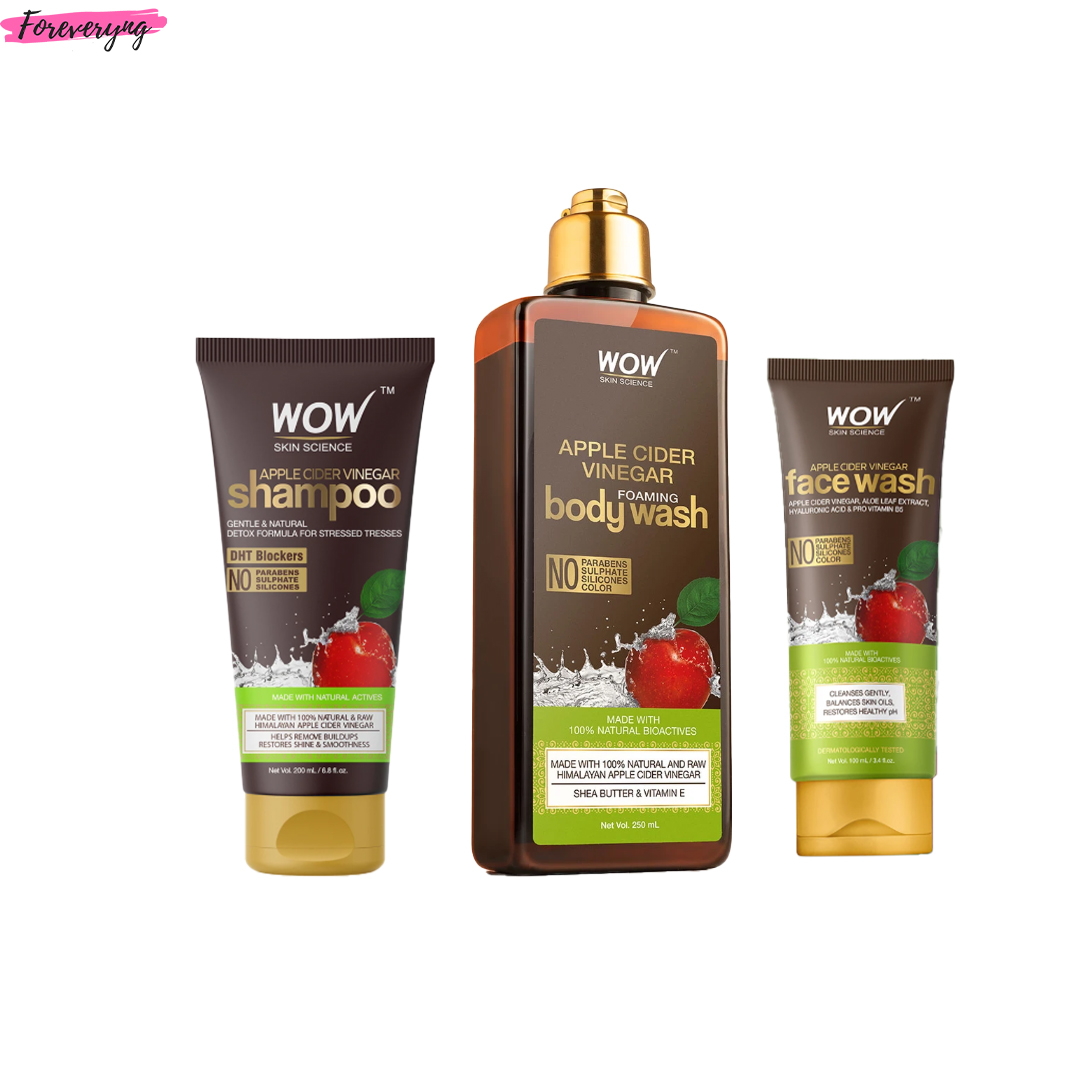 WOW Skin Science Apple Cider Vinegar Shampoo, Body Wash & Facewash Combo