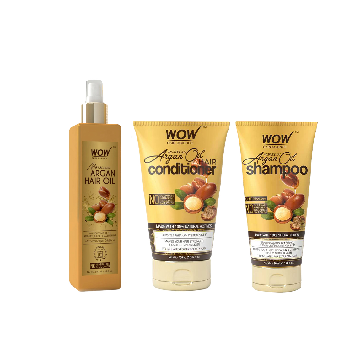 WOW Skin Science Moroccan Argan Hair Oil, Shampoo & Conditioner Combo