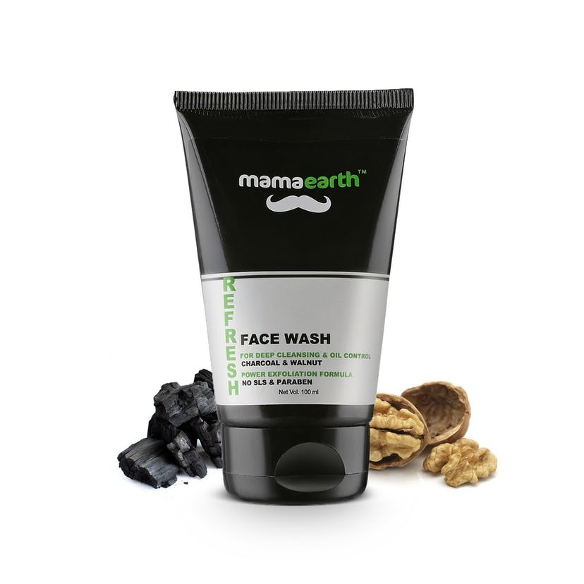 Mamaearth Refresh For Deep Cleansing & Oil Control Facewash for Men - Charcoal and Walnut (100ml)
