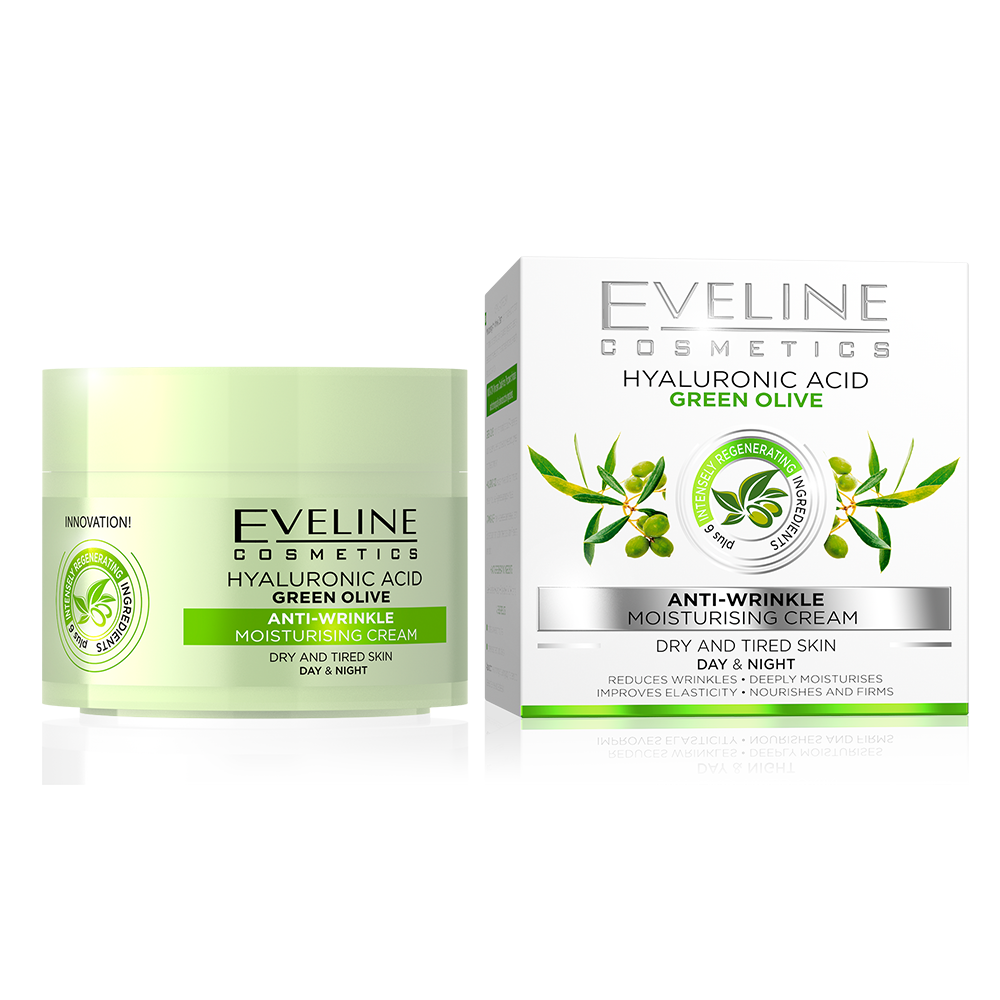 Eveline Hyaluronic Acid/green Olive Moisturising Anti-Wrinkle Day & Night Cream - 50ml
