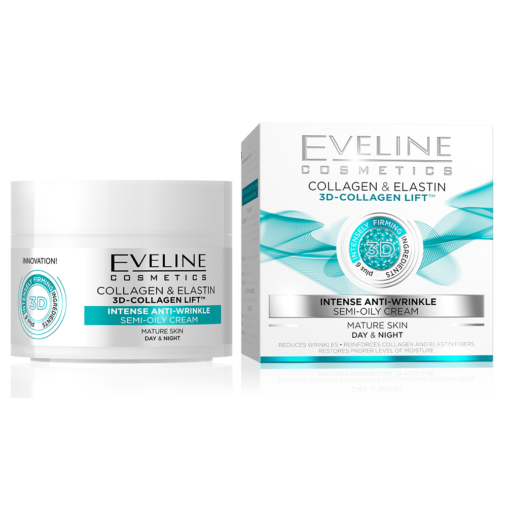Eveline Collagen & Elastin - Intense Anti-wrinkle Semi-Oily  Day & Night Cream - 50ml