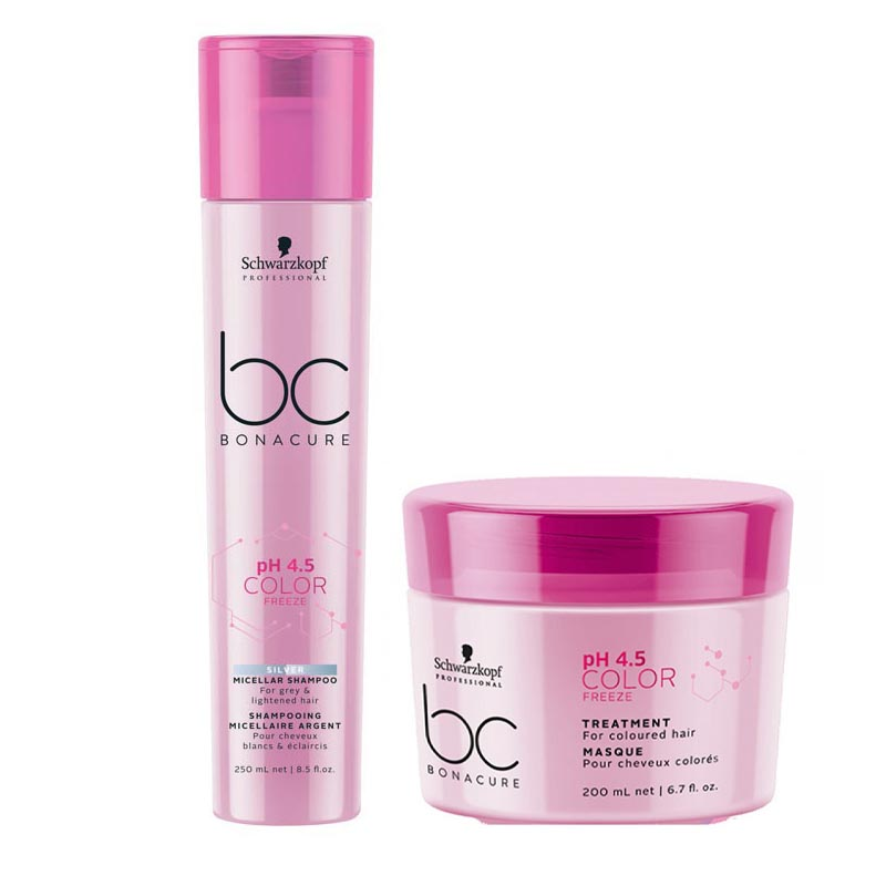 Schwarzkopf BC Bonacure PH 4.5 Color Freeze Silver Micellar Shampoo & Bonacure PH 4.5 Color Freeze Treatment Combo
