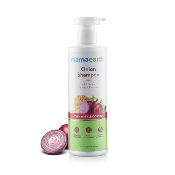 Mamaearth Onion Shampoo for Hair Growth and Hair Fall Control with Onion Oil and Plant Keratin - 250 ml