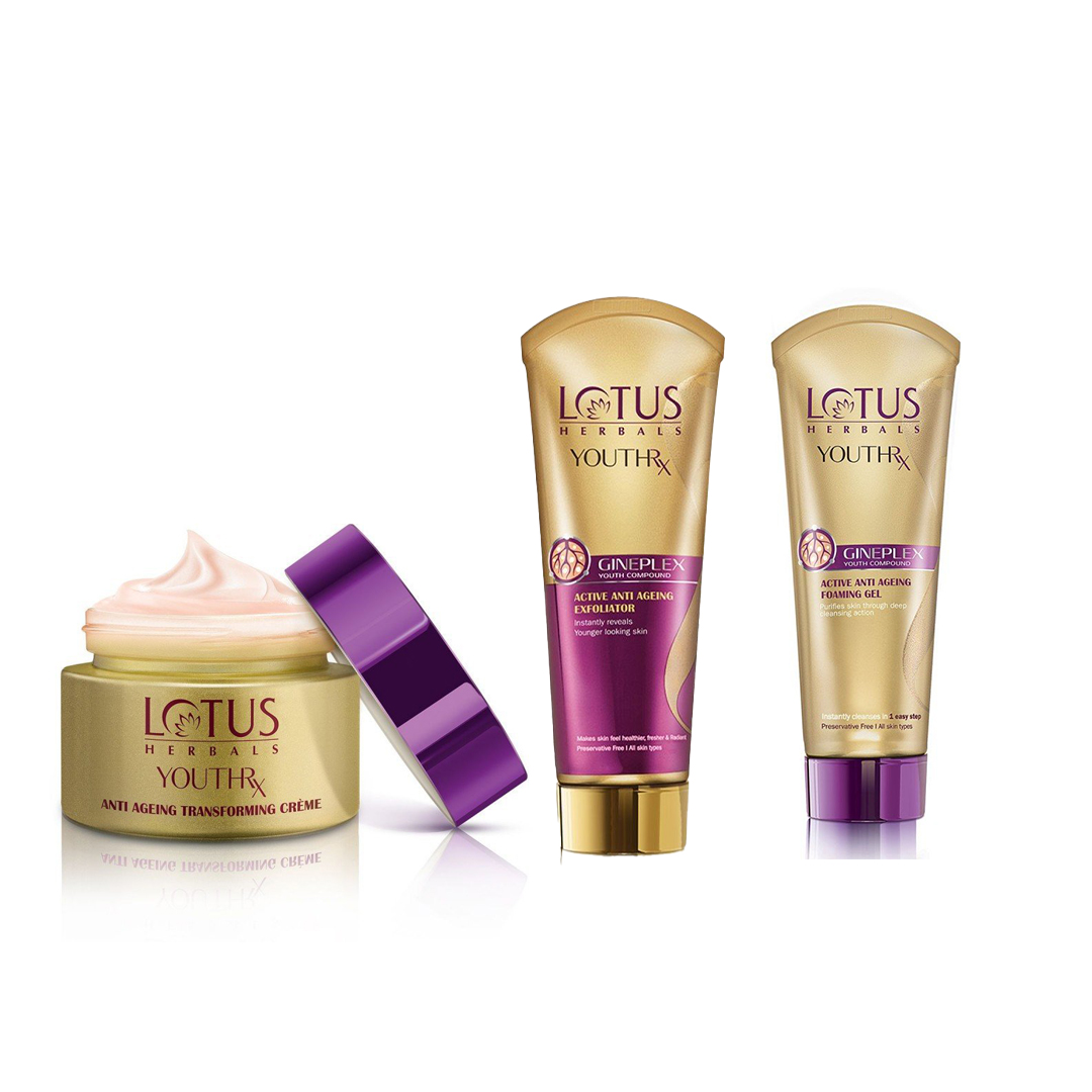 Lotus Herbals YouthRx Anti-Ageing Transforming Day Creme, Exfoliator &  Foaming Gel Combo
