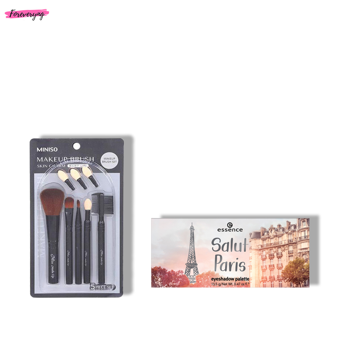 Essence Salut Paris Eyeshadow Palette - 02 & Miniso Skin Charm Makeup Brush Set(Extra Eyeshadow Tip Included) Combo