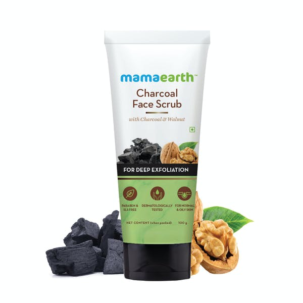 Mamaearth Charcoal Face Scrub For Oily Skin & Normal Skin With Charcoal & Walnut (100gm)