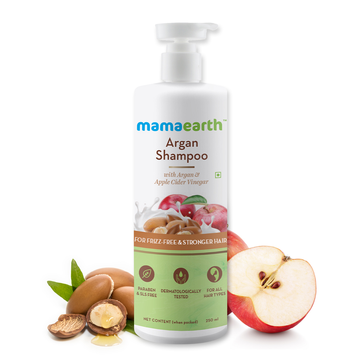 Mamaearth Argan Shampoo With Argan & Apple Cider Vinegar for Frizz-free & Stronger Hair - 250 ml