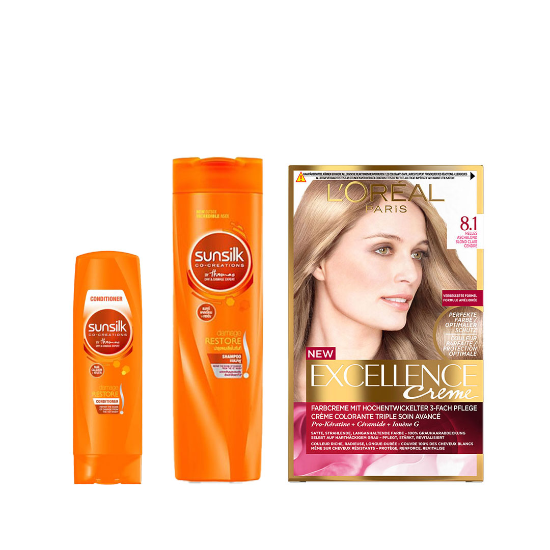 Sunsilk Damage Restore Shampoo, Conditioner & L'Oreal Paris Excellence Creme Permanent Hair Color Combo