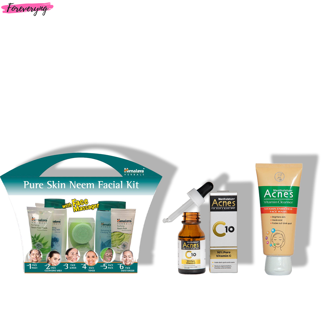 Himalaya Pure Skin Neem Facial Kit, Acnes C10 Pure Vitamin C Serum &  Vitamin Cleanser (Saver Pack)