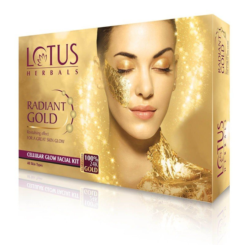 Lotus Herbals RADIANT GOLD Cellular Glow Facial Kit (Pack of 4)