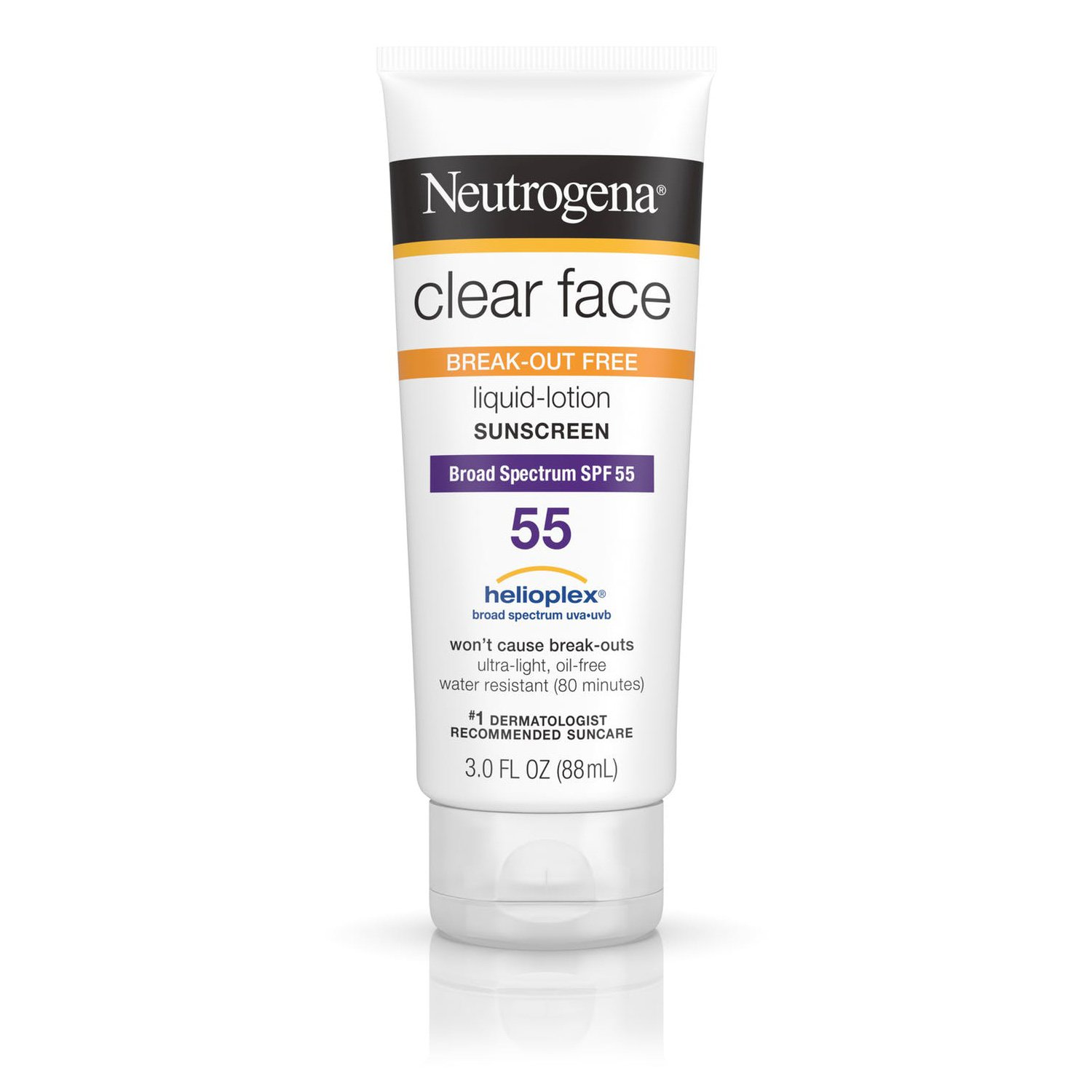 Neutrogena Clear Face Break-Out Free Liquid Lotion Sunscreen Broad Spectrum SPF 55(88ml)
