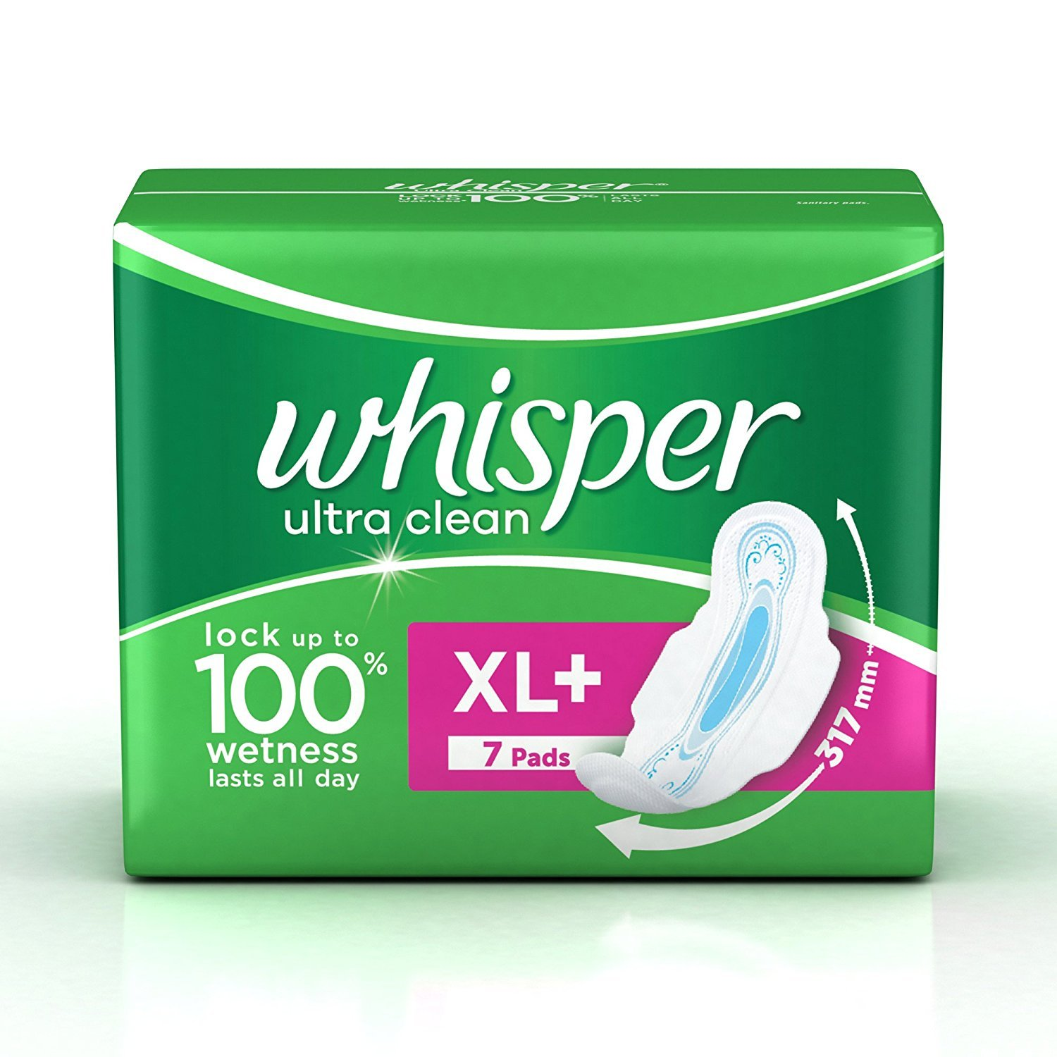 Whisper Ultra Clean Sanitary Pads XL  Wings (7 Pads)