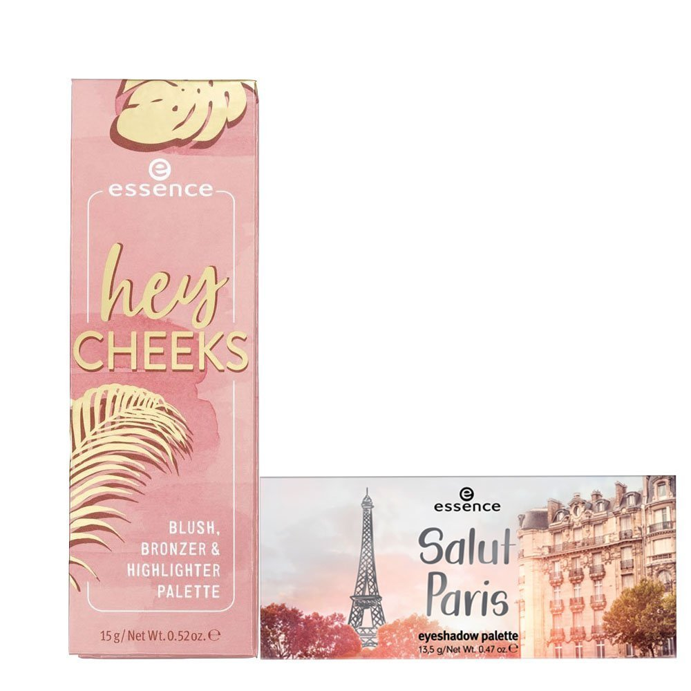 Essence Hey Cheeks Blush, Bronzer & Highlighter and Salut Paris Eyeshadow Palette Combo
